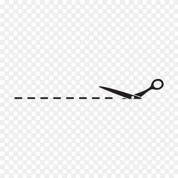 Black Scissors with cut line with Flat style on transparent background PNG