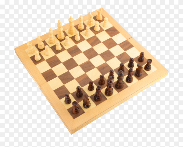 Black and white chess game pieces, figures on chess board on transparent background PNG