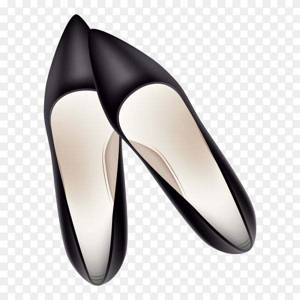 Black shoes for woman on transparent background PNG