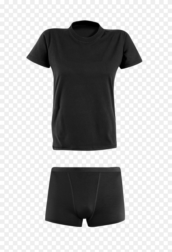 Black t-shirt and underware for man isolated on transparent background PNG