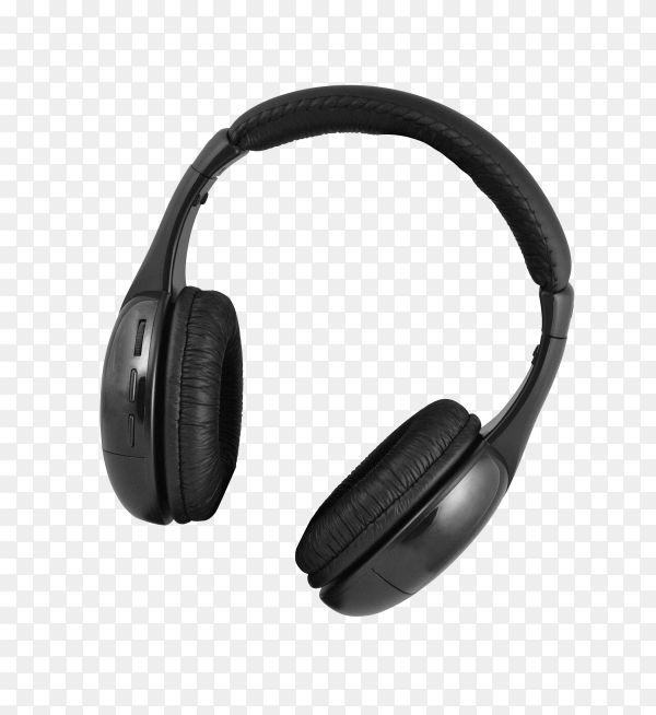 Black wireless headphones isolated on transparent background PNG