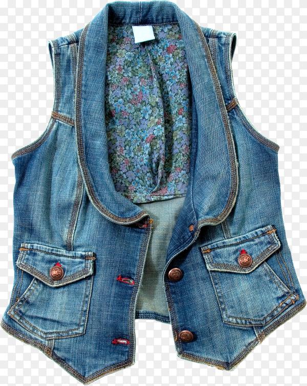 Blue denim vest isolated on transparent background PNG