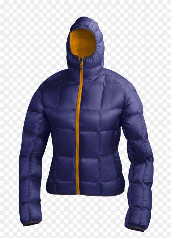 Blue winter jacket on transparent background PNG