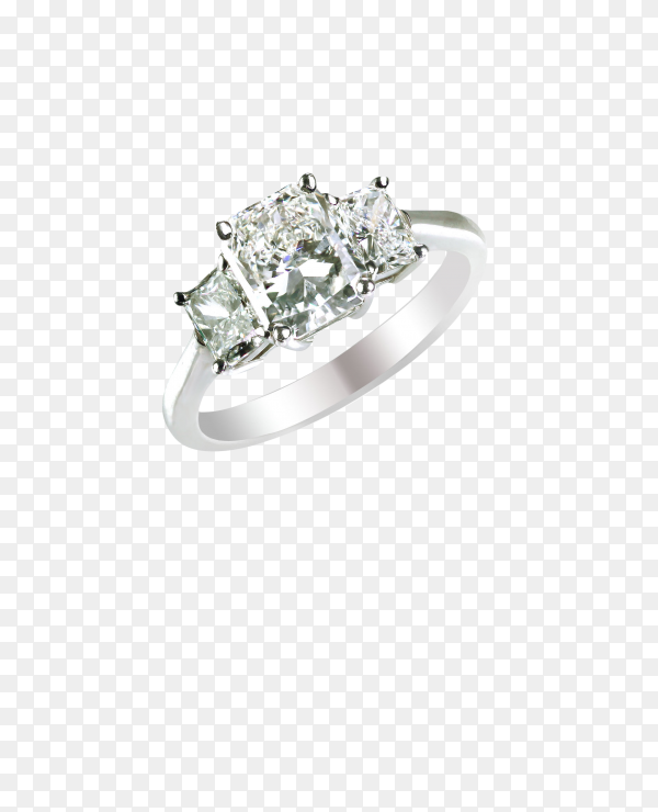 Branding carat round shape diamond band ring on transparent background PNG