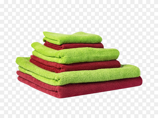 Brown and green bath towels on transparent background PNG