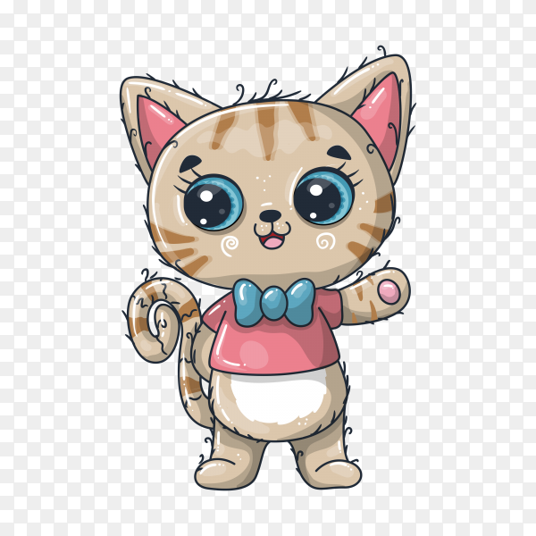 Cartoon cute baby cat on transparent background PNG