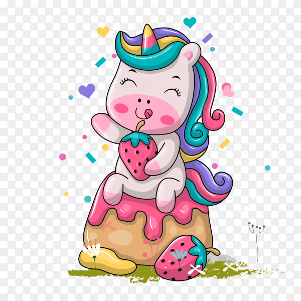 Cartoon funny unicorn with sweet cake on transparent background PNG
