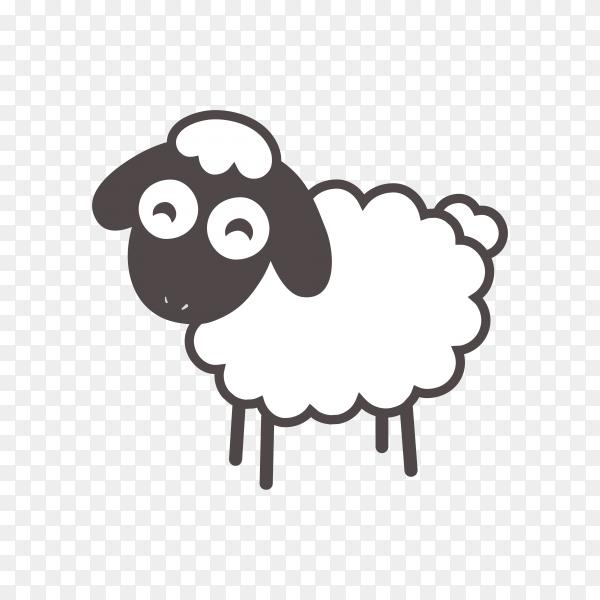 Cartoon sheep illustration on transparent background PNG