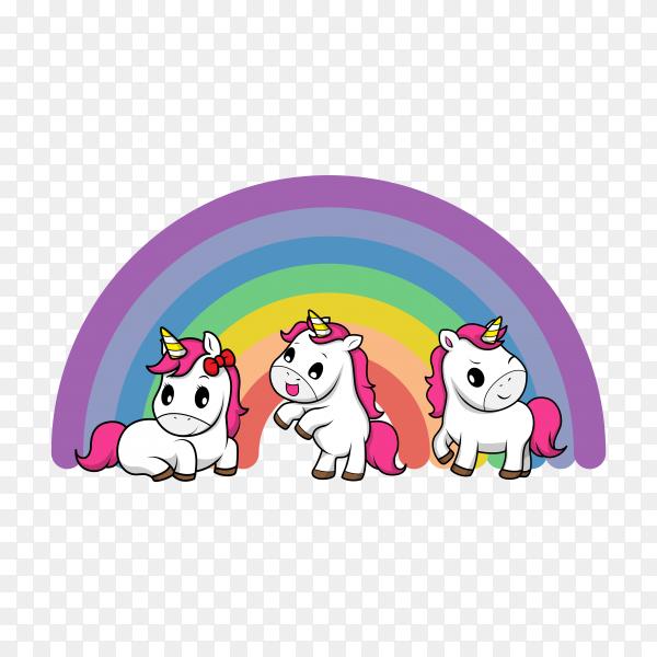 Cartoon unicorn illustration on transparent background PNG