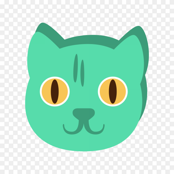 Cat face , Cartoon character emoji With Eyes illustration on transparent background PNG
