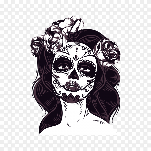 Catrina .Day Of The Dead Skull on transparent background PNG