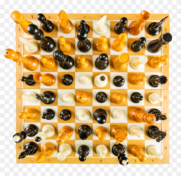 Chessboard with chess pieces on transparent background PNG