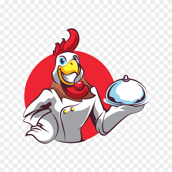 Chicken chef logo on transparent background PNG