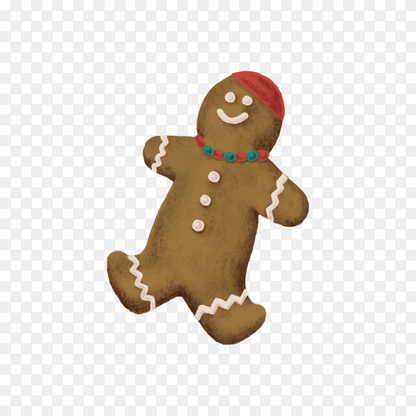 Christmas Brown gingerbread cookie on transparent background PNG
