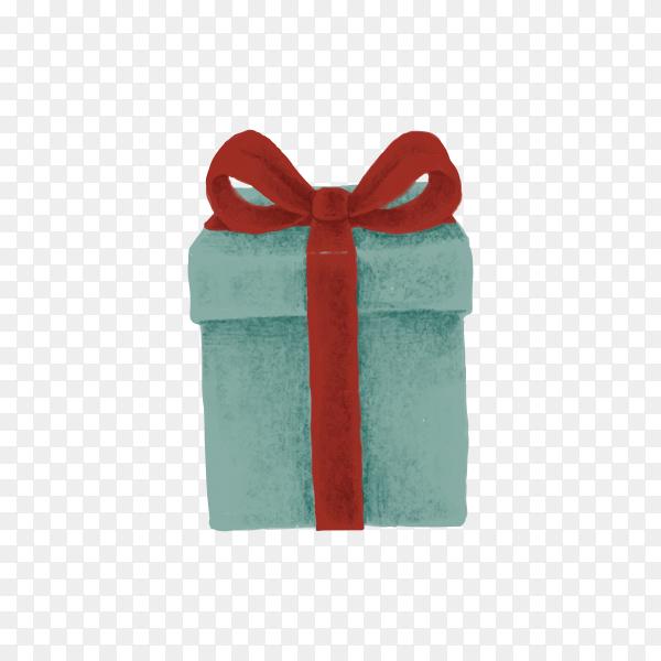Christmas present illustration on transparent background PNG