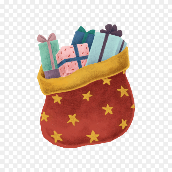 Christmas present on transparent background PNG
