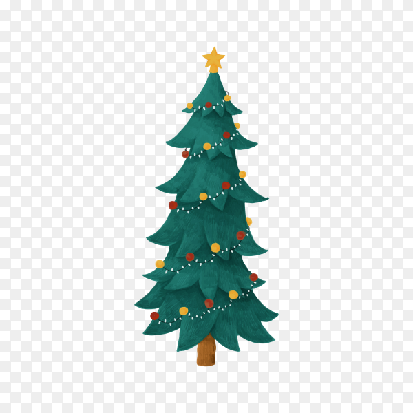 Christmas tree isolated on transparent background PNG