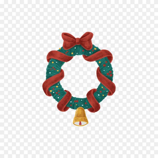 Christmas wreath illustration on transparent background PNG