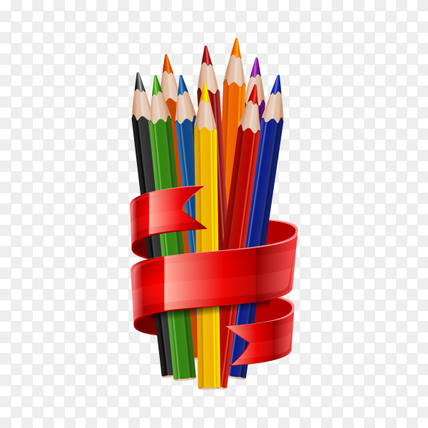 Colorful color pencils isolated on transparent background PNG