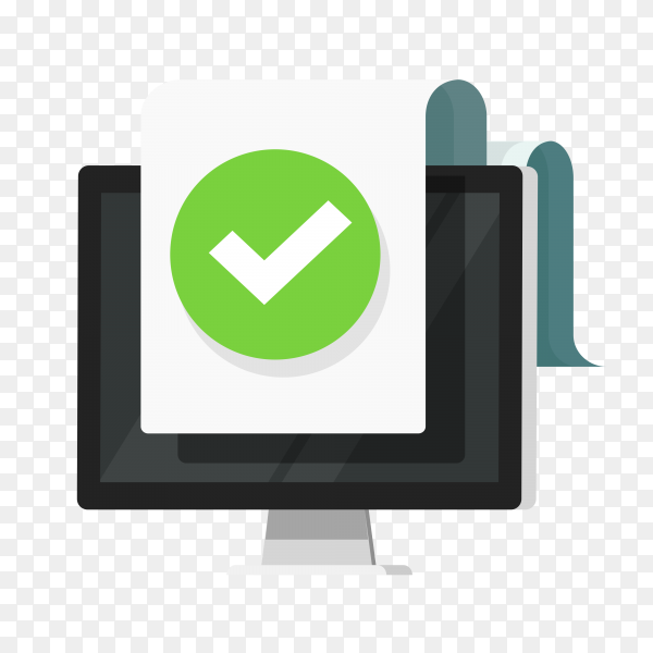 Computer with checkmark or tick notification on document or approved file icon flat on transparent background PNG