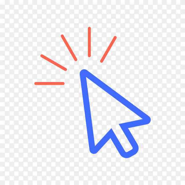 Cursor icon illustration. Pointer icon on transparent background PNG