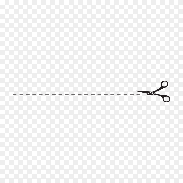 Cut line with black scissors illustration on transparent background PNG