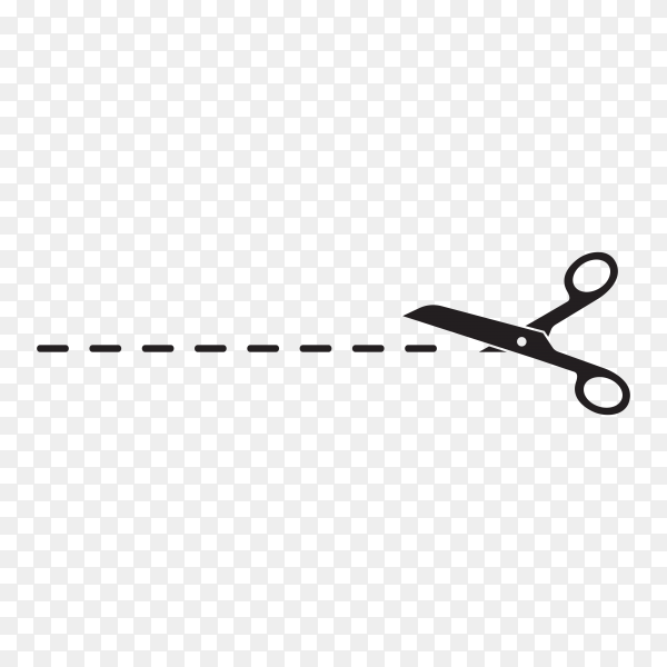 Cut line with black scissors on transparent background PNG