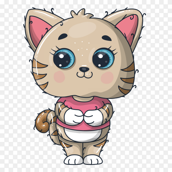 Cute baby cat cartoon on transparent background PNG