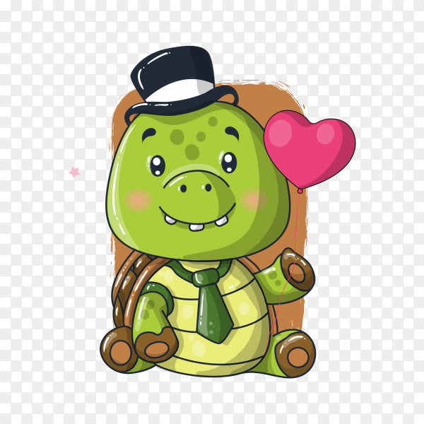 Cute baby turtle cartoon illustration on transparent background PNG