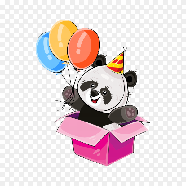 Cute bear panda with balloons and box gift on transparent background PNG