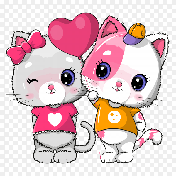 Cute cat couple for valentine. invitation card. illustration on transparent background PNG