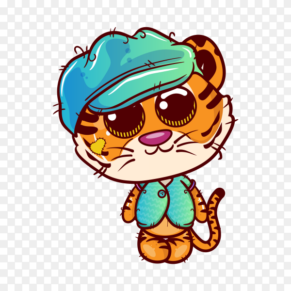 Cute tiger cartoon on transparent background PNG