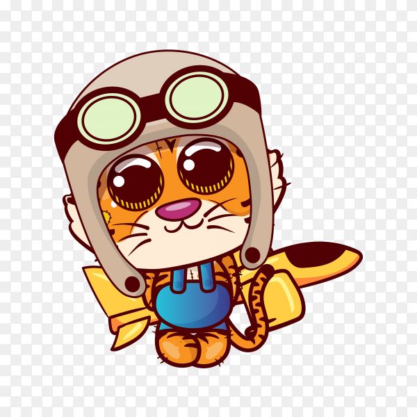 Cute tiger cartoon with helmet on transparent background PNG