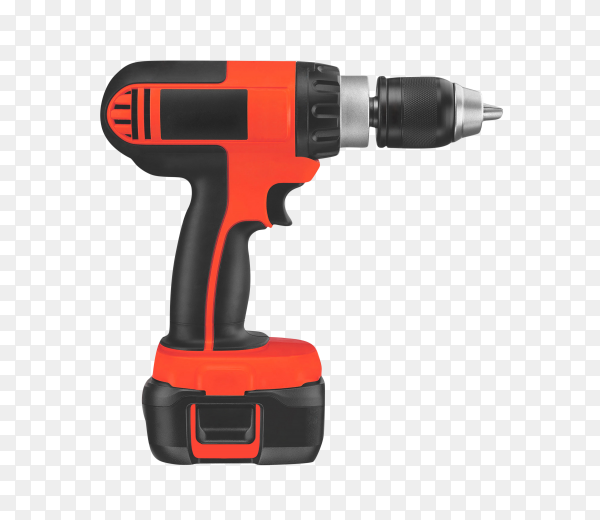 Electric screwdriver on the battery isolated on transparent background PNG