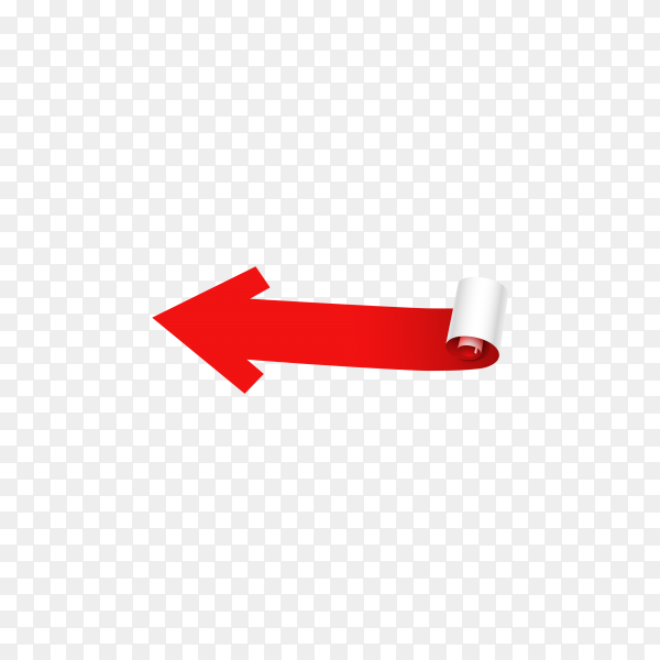 Flat design arrow in red color on transparent background PNG