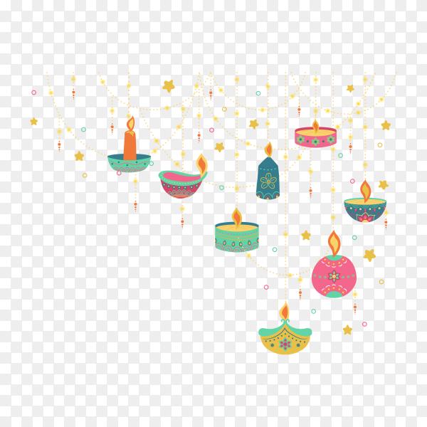 Flat design of colorful Diwali on transparent background PNG