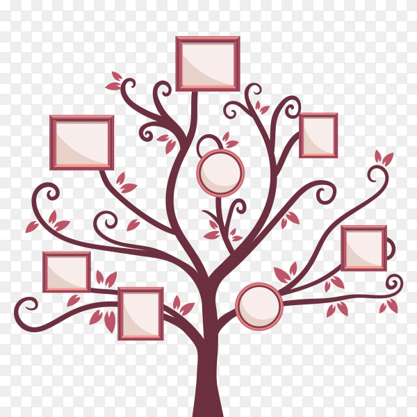 Flat tree with photo frames on transparent background PNG