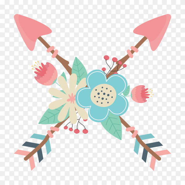 Flowers feathers with arrows decorating with boho style on transparent background PNG