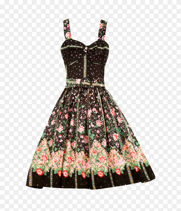 Flowery evase sweetheart dress on transparent background PNG