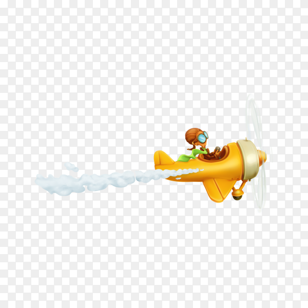Funny airplane, cartoon isolated on transparent background PNG