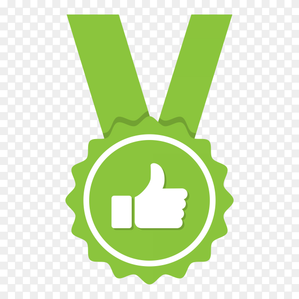 Green approved or certified medal icon on transparent background PNG