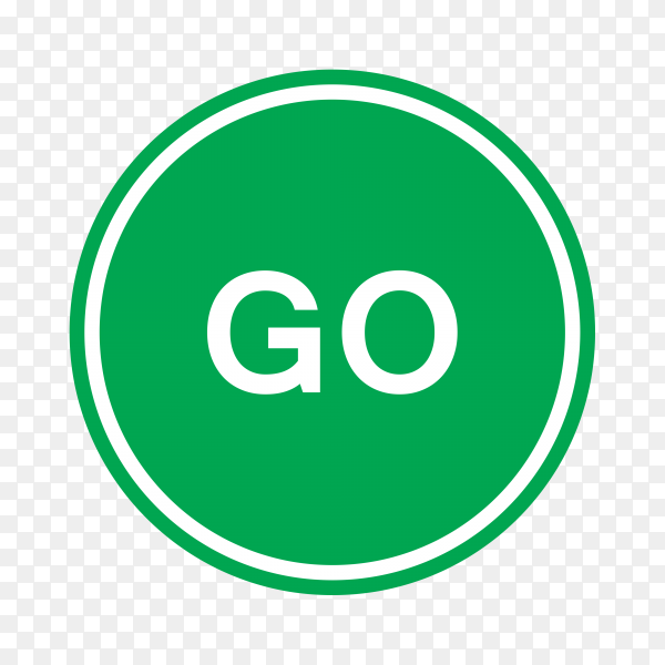 Green go traffic road sign on transparent background PNG