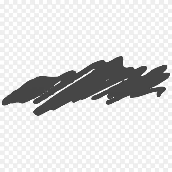 Hand Painted black Brush Stroke on transparent background PNG