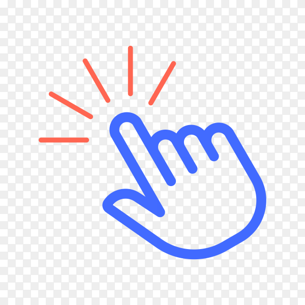Hand click icon . pointer icon . hand cursor icon on transparent background PNG