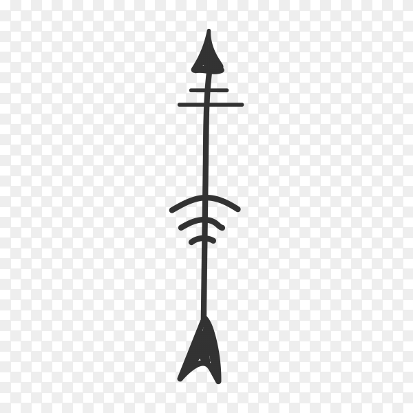Hand drawn Arrow icon on transparent background PNG