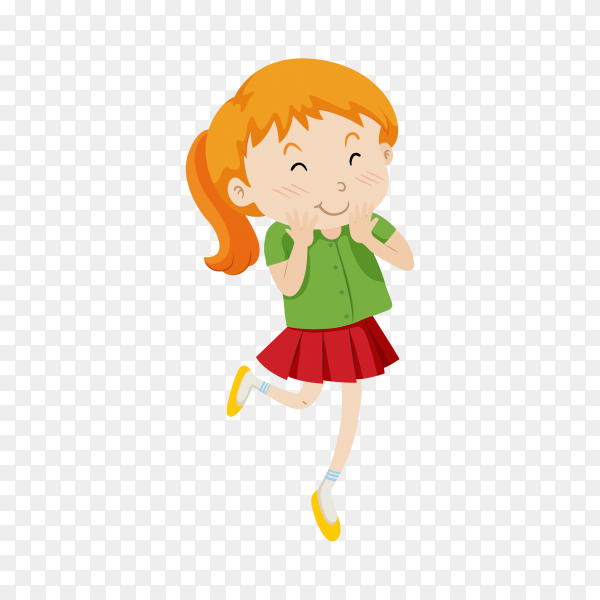 Hand drawn beautiful, cute, little girl on transparent background PNG