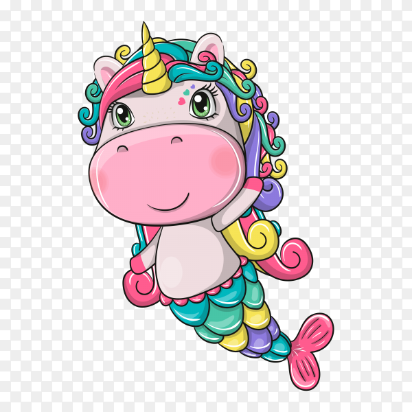 Hand drawn cute magical unicorn on transparent background PNG