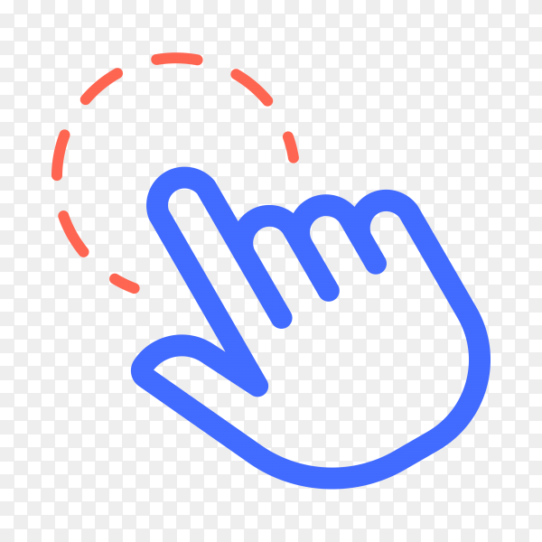 Hand pointer, clicking icon. Click finger illustration on transparent background PNG