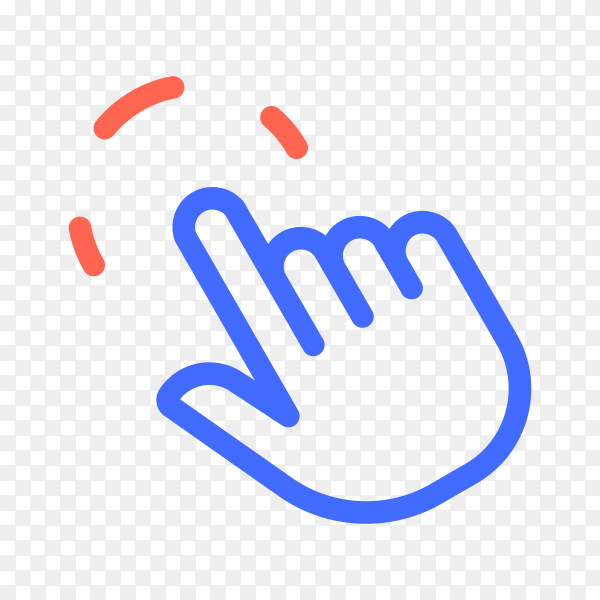 Hand pointer, clicking icon. Click finger on transparent background PNG
