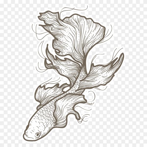 Illustration beautiful betta fish on transparent background PNG
